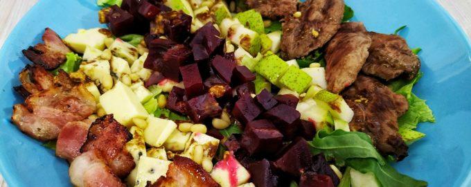 Салат с уткой под горчичной заправкой