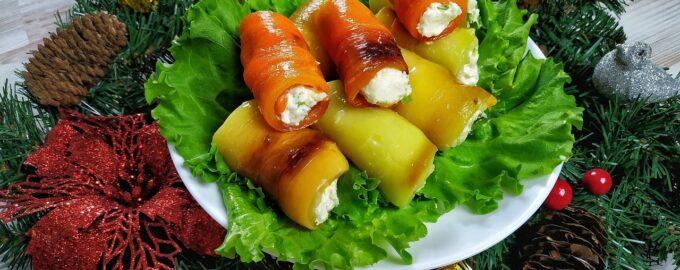 Рулетики из болгарского перца с сырной начинкой